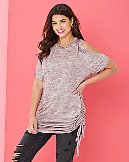 Longer Length Cold Shoulder Metallic Top