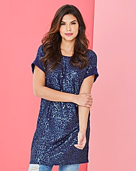 Indigo Longer Length Sequin Front Tunic