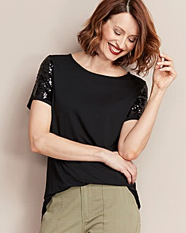 Black Sequin Sleeve Top