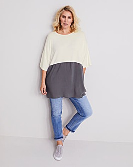 Grey/Ivory Colourblock ITY Tunic