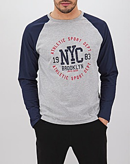 Long Sleeve Raglan Print Front T-Shirt Long