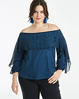 Washed Look Bardot Chiffon Trim Top