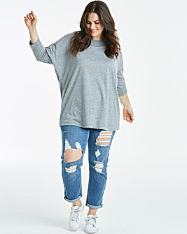 Grey Marl Oversized Drop Sleeve Tunic