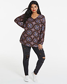 Longer Length V Neck Paisley Print Tunic