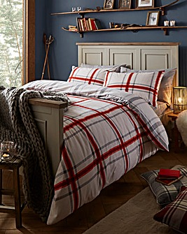 Brushed Cotton Red Duvet Cover Set