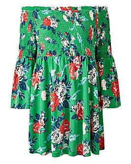 Green Print Shirred Bardot Top