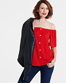 Red Button Down Bardot Top