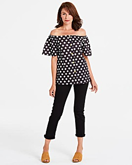 Spot Button Down Bardot Top