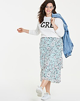 Print Tiered Frill Midi Skirt