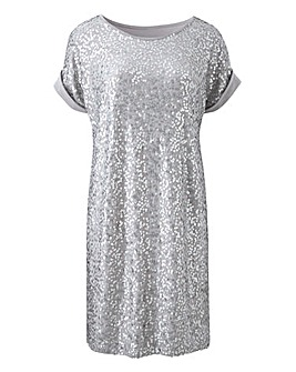 Petite Silver Sequin Front Tunic