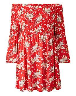 Red Print Shirred Bardot Top