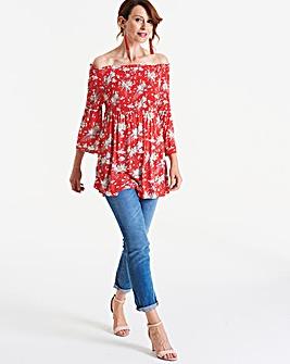 Longer Length Shirred Bardot Top