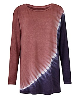 Longer Length Diagonal Tie Dye Top