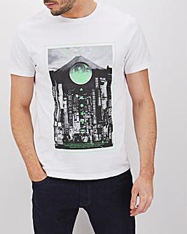 Short Sleeve Print Front T-Shirt Long