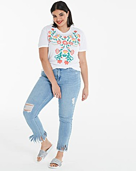 Mock Embroidered Floral Print T-Shirt