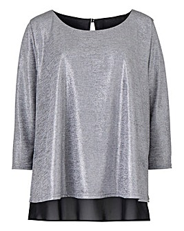 Jersey/ Woven Overlay Top