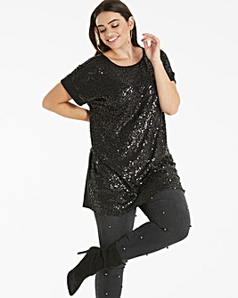 Longer Length Black Sequin Front Tunic