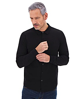 Long Sleeve Button Through Pique Polo