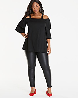 Maternity Cold Shoulder Crepe Top