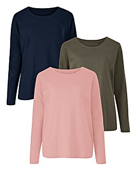 Navy/Dusky Pink/Khaki Pack of 3 Long Sleeve Jersey Tops