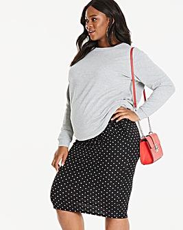 Maternity Spot Print Jersey Midi Skirt