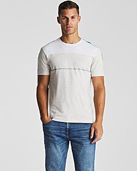 BOSS Light Grey Colourblock Logo T-Shirt