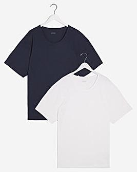 BOSS Navy White 2 Pack B&T Bodywear Tees
