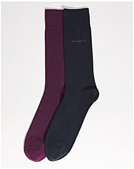 BOSS Med Purple 2 Pack Finest Cotton Socks