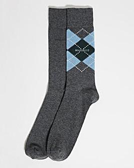 BOSS Grey 2 Pack Argyle Soft cotton Socks