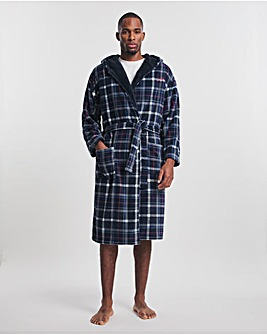 Joe Browns Navy Grey Check Dressing Gown