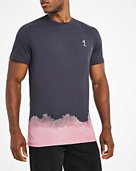 Religion Washed Black Half Print T-Shirt