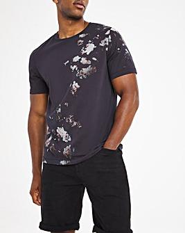 Religion Washed Black Rose Grunge T-Shirt