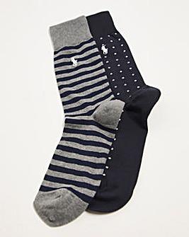 Polo Ralph Lauren 2 Pack Spot Print Socks