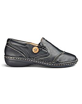 Soft Leather Slip On Button Detail Shoes Extra Wide EEE Fit