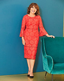 Lorraine Kelly Trumpet Sleeve Lace Dress