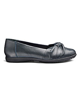Leather Twist Vamp Ballerinas Extra Wide EEE Fit