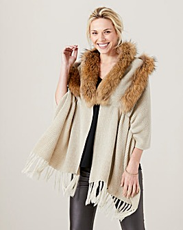 James Lakeland Faux Fur Trim Shawl
