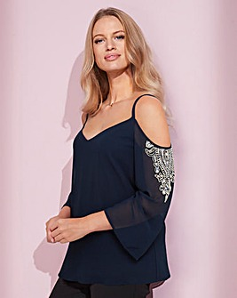 Together Navy Cold Shoulder Blouse