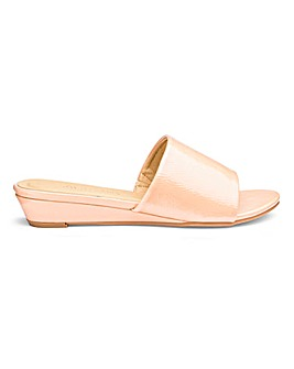 Low Wedge Open Toe Mule Sandals EEE Fit