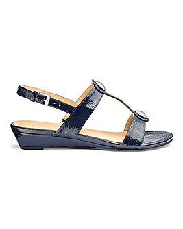 Low Wedge Patent Sandals EEE Fit