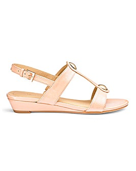 Low Wedge Patent Sandals E Fit
