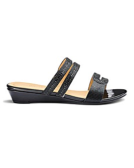 Low Wedge Glitz Mule Sandals E Fit
