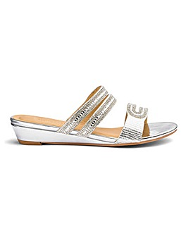 Low Wedge Glitz Mule Sandals EEE Fit