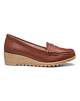 Leather Wedge Loafer Shoes EEE Fit