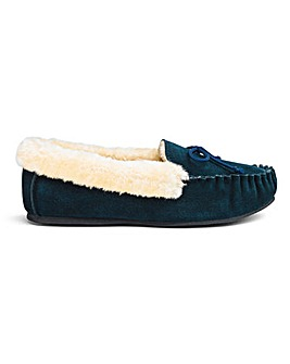 Suede Moccasin Slippers Wide E Fit
