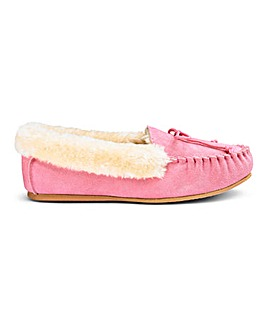 Suede Moccasin Slippers EEE Fit