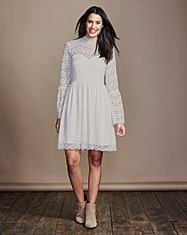 High Neck Long Sleeve Lace Dress