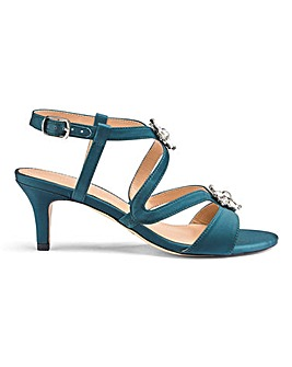 Diamante Trim Satin Sandals EEE Fit