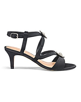Diamante Trim Satin Sandals E Fit