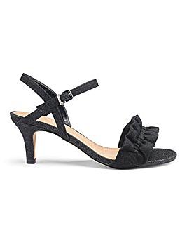 Ruffle Detail Kitten Heel Sandals Extra Wide EEE Fit